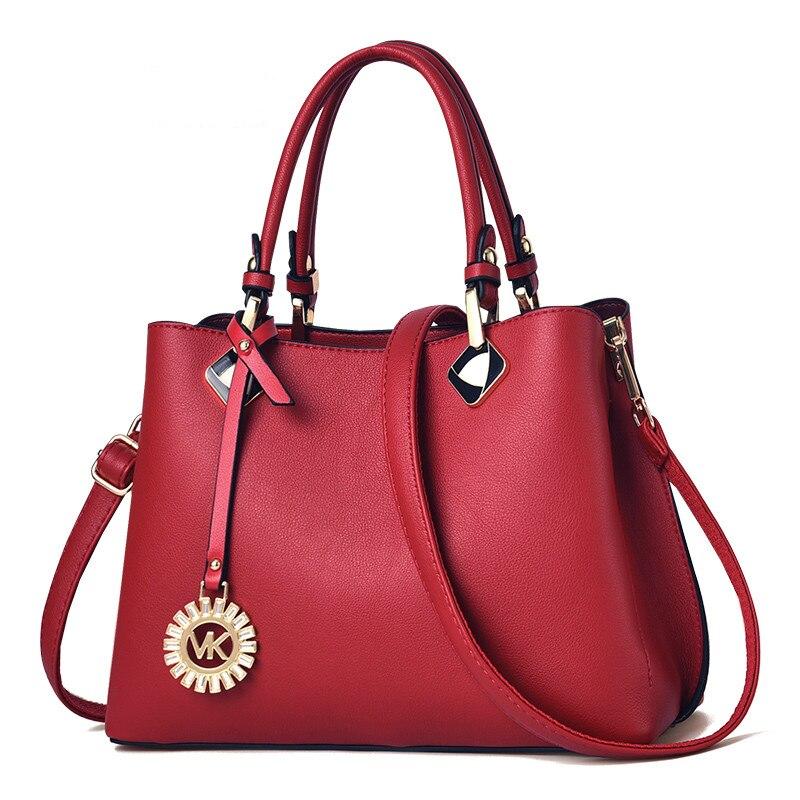 Новинка 2019, модная женская сумка мессенджер на плечо, черная, красная кожа, кожзам, клатч для покупок, Повседневная сумка на молнии, сумки