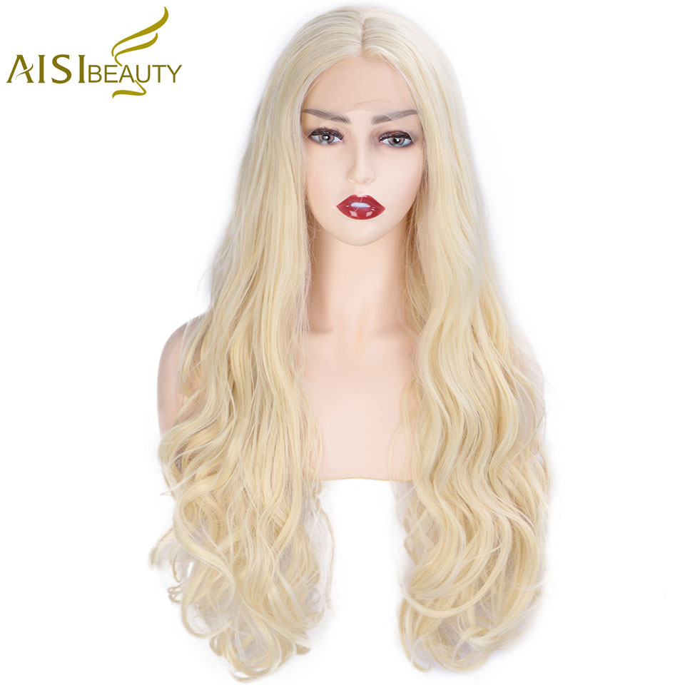 AISI BEAUTY 13X4 Lace Front Wigs 613 Blonde Long Wavy Synthetic Lace Wig for Women Middle Part Nature Cosplay Wigs