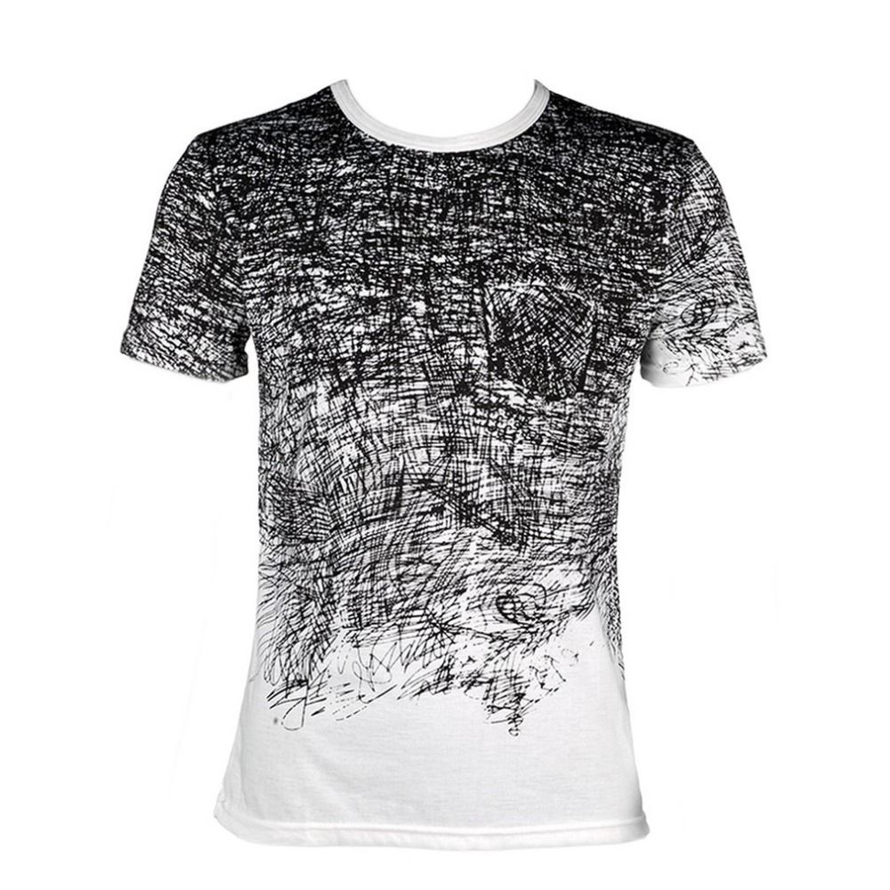 Funny 3D Graffiti Printed T Shirt Men Summer Slim Tshirt Tops Tees Male Round Neck Short Sleeves Creative Design Mens Shirt &2