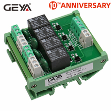 цена на GEYA 4 Channel Relay Module 1 SPDT DIN Rail Mount 12V 24V DC/AC Interface Relay Module 220V 230V