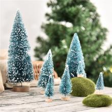 7pcs Mini DIY Christmas Tree Fake Pine Sisal Bottle Brush Santa Snow Frost Village Home Decor