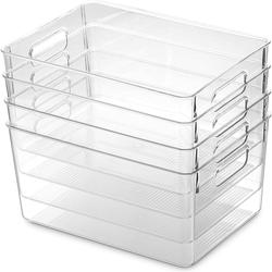 2020 Clear Pantry Organizer Bins Household Plastic Food Storage Basket Box for Kitchen Countertops Cabinets Refrigerator Freezer
