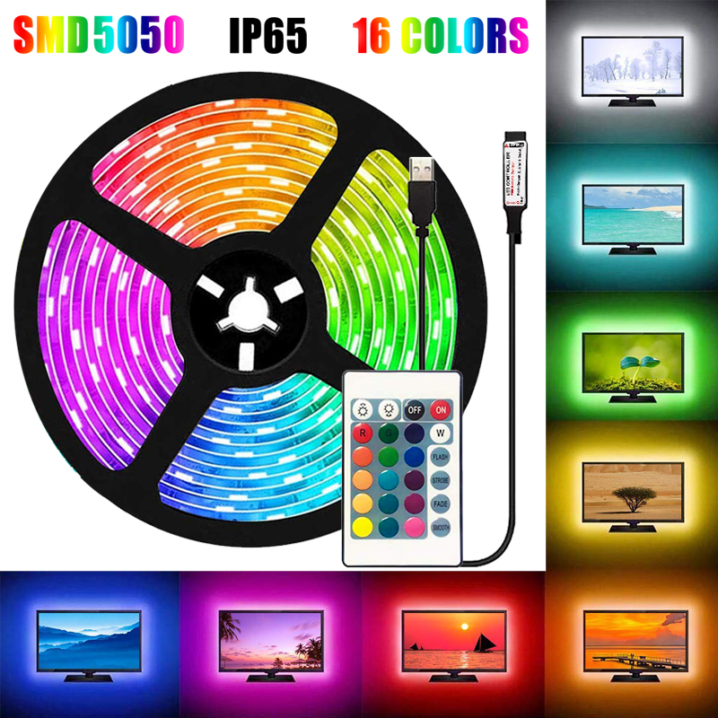 16Colors <font><b>5050</b></font> LED Strip Lights 0.5-5M 5V <font><b>USB</b></font> Waterproof Flexible TV Back Light RGB Colour Changing with 24Key Remote Control image