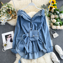 Spring Fashion Lapel Denim Shirt Womens Design Backless Straps Waist Was Thin and Fashionable Two Wear Jacket Tide Women Jackets cheap REGULAR Turn-down Collar Single Breasted Streetwear Full STANDARD COTTON Sashes Solid