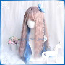Gradual Gray Pink Blue Color Lolita Wig Harajuku Sakura Sweet Long Curly Synthetic Hair Fringe Bangs Adult Girls Pink Hair(China)