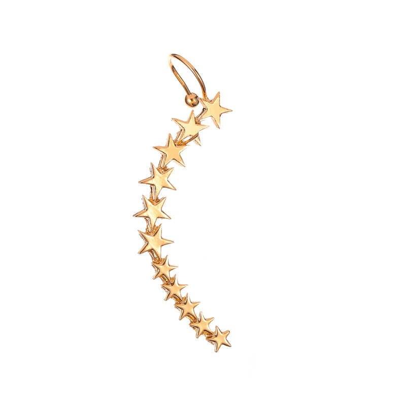 VAGZEB חדש אופנה כסף צבע כוכב צורת ארוך Earcuffs בוהמי קריסטל קליפ על אוזן קאף לנשים עגיל קליפים תכשיטים