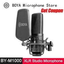 BOYA BY M1000 콘덴서 마이크 대형 다이어프램 3 가수 Podcaster Voiceover Studio Mic Facebook Vlog 용 폴라 패턴
