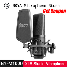 ボヤBY M1000 コンデンサーマイクラージダイアフラム 3 極性パターン歌手podcaster voiceoverスタジオマイクfacebook vlog