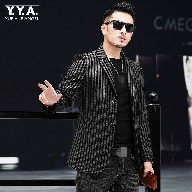 Brand Men Real Leather Jacket 2019 Autumn Long Sleeve Blazer Business Casual Sheepskin Suit Jacket Striped Black Short Coat