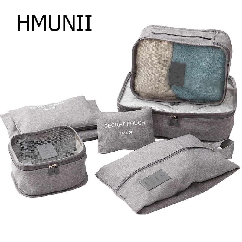HMUNII Packing Organizers Clothing Cubes Shoe Bags Laundry Pouches For Travel Suitcase Luggage, Storage Organizer 7 Sets Gray