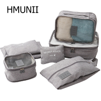HMUNII Verpackung Organisatoren Kleidung Würfel Schuh Taschen Wäsche Beutel Für Reise Koffer Gepäck, Lagerung Organizer 7 Sets Grau