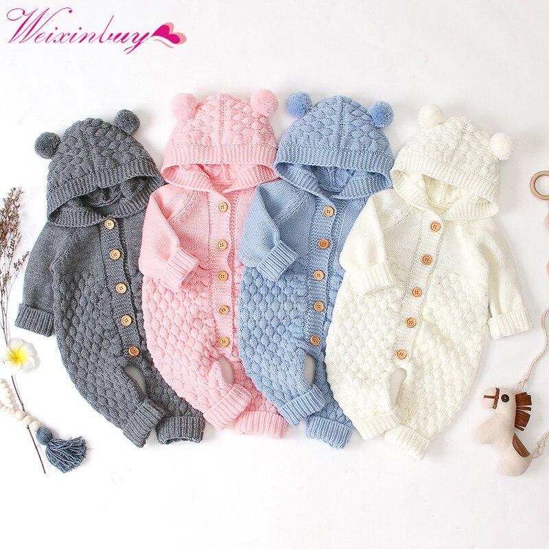 Детские вязаные комбинезоны с рисунком медведя; вязаные осенние комбинезоны для новорожденных мальчиков; зимняя одежда с длинными рукавам...