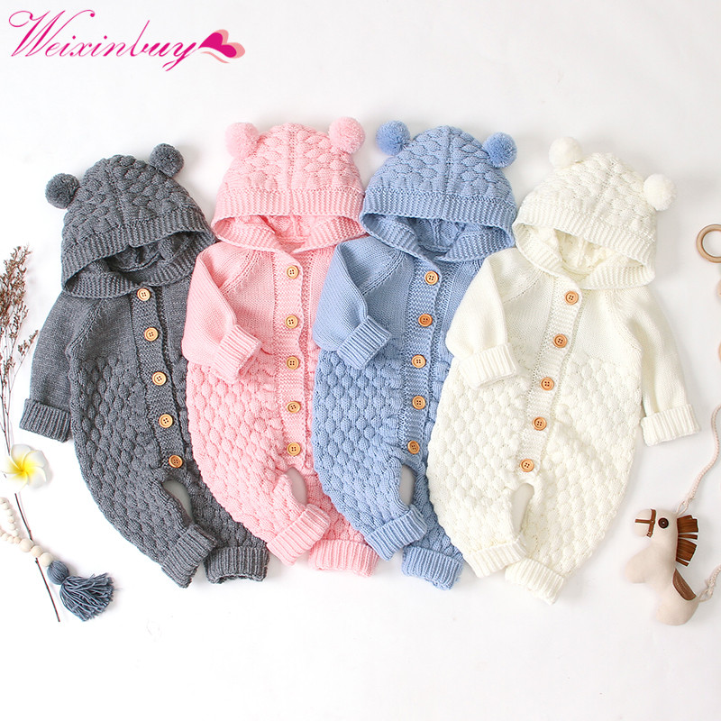 <font><b>Baby</b></font> knit Rompers Cartoon Bear Knitted autumn Newborn Boys Jumpsuits <font><b>Clothes</b></font> winter Long Sleeve Toddler Sweater Children Overall image