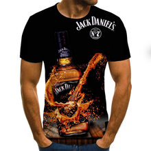 Men's printed T-shirt round neck short sleeve T-shirt fashion T-shirt 3D breathable casual T-shirt beer letter print 2021 summer