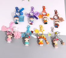 Cute Korean couple key buckle hat boy and girl student cartoon schoolbag pendant practical small commodity high quality key ring(China)