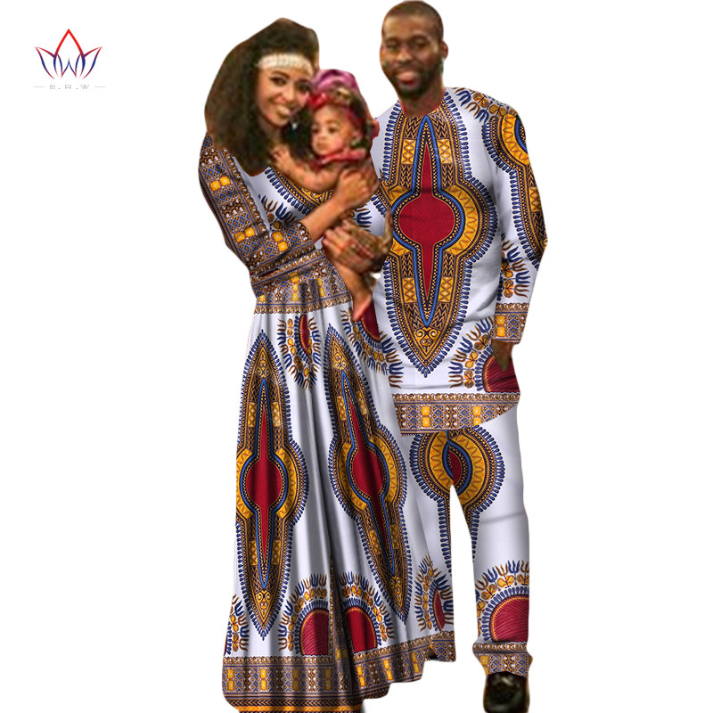African Clothes Kids Dashiki Family Men Shirt Long Sleeve Men's Set Plus Size African Clothing Long Sleeve Maxi Dress WYQ22