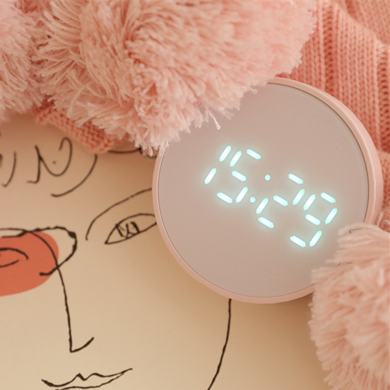 Smart Free Timer Clock Mini round Small Alarm Clock Simple LED Digital Magnetic Sucker Wall-Mounted Electronic Clock