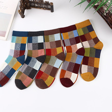 5 Pairs Colorful Combed Cotton Dress Socks Plaid Pattern Hap