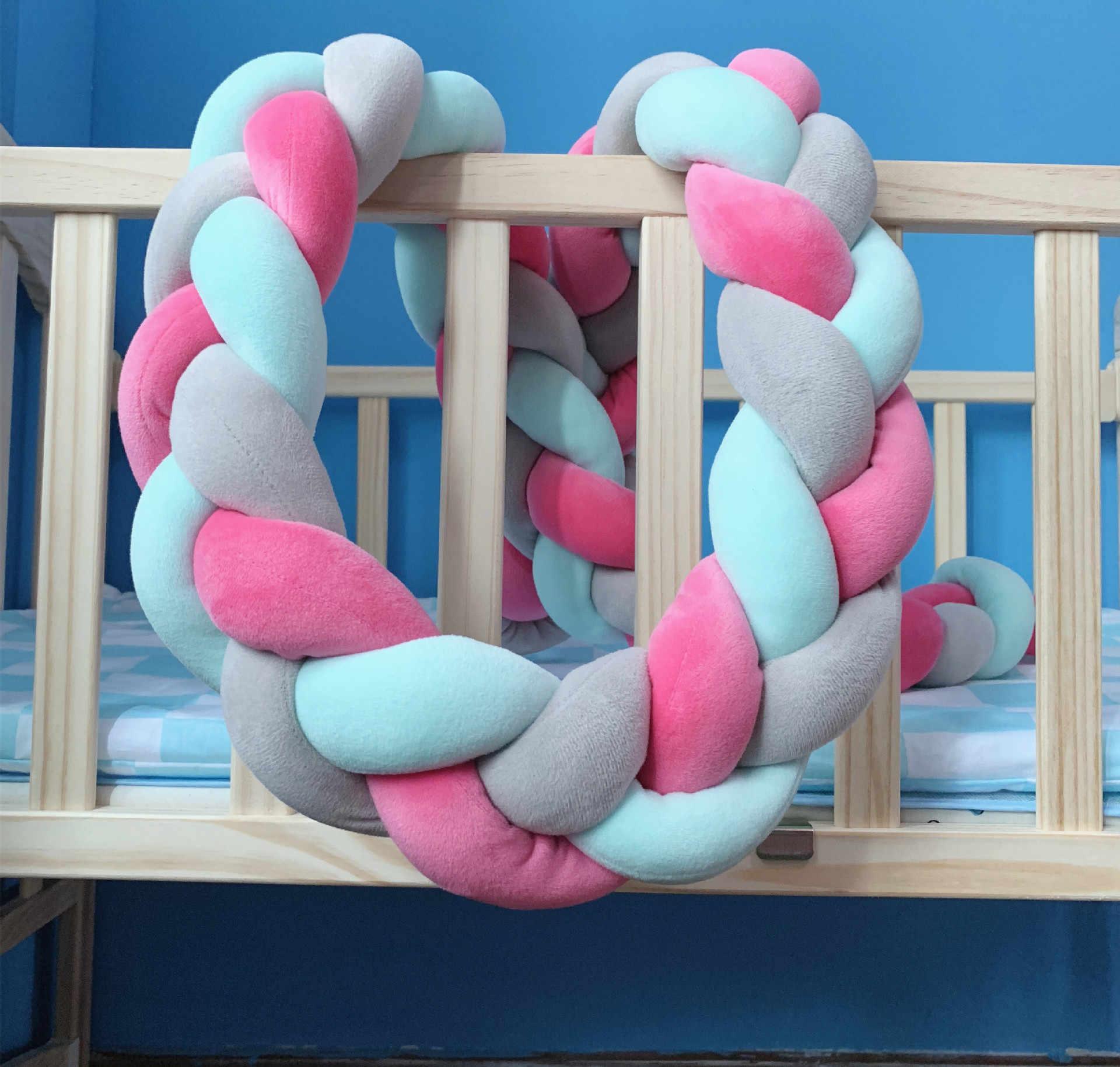 CYSINCOS 1M 2M 3M bébé lit tresse noeud oreiller coussin pour bébé Bebe berceau protecteur lit bébé chambre décor