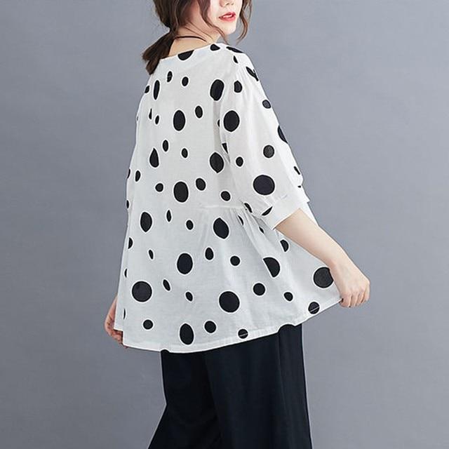 100% Cotton Oversized Shirt Women Summer Loose Casual Tops New 2020 Korean Style Polka Dot Print Woman Blouses Shirts P1027 6
