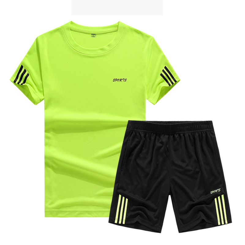 New Style Casual Quick-Dry Sports Set MEN'S Short Sleeve Shorts Summer Style Round Neckline T-shirt Fitness Running Sports Cloth
