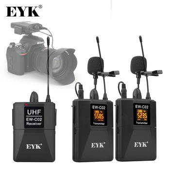 EYK EW-C02 30 Channel UHF Wireless Dual Lavalier Microphone System 60m Range for DSLR Camera Phone Interview Recording Lapel Mic xtuga uhf wireless lavalier lapel microphone system live recording mic with rechargeable transmitter