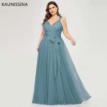 KAUNISSINA Woman Plus Size Evening Dress V-neck Elegant A-line Chiffon Sleeveless Long Burgundy Party Prom Formal Gowns