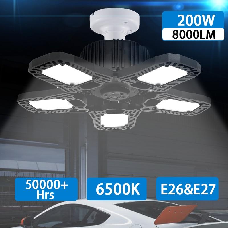 LED Garage Light 8000lm E27 LED Bulb 5 Leaf 360 Degree Deform Ceiling Light High Bay Lamp Workshop Light For Warehouse Factory