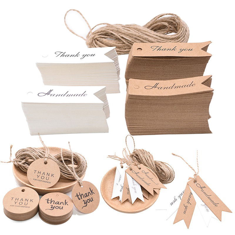 Etiqueta de papel de embalagem de 100 pces e corda de cânhamo de 10m obrigado você etiquetas de suspensão feitas à mão presente que envolve o papel pendurar tags para presentes da festa de casamento