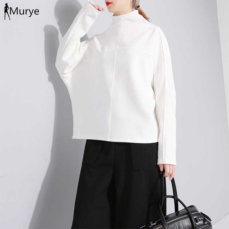 Bluzy z kapturem kpop bluza damska z golfem zimowa jesień kaptur w kolorze czarnym ponadgabarytowa Harajuku jednolita odzież wierzchnia Got7 Casual Women Clothes