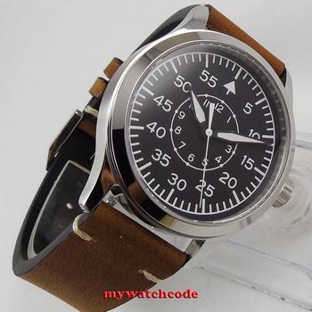 цена wholesale 42mm Corgeut black sterile dial supper luminous marks Sapphire Glass pilot watch sea-gull 1612 Automatic mens Watch онлайн в 2017 году