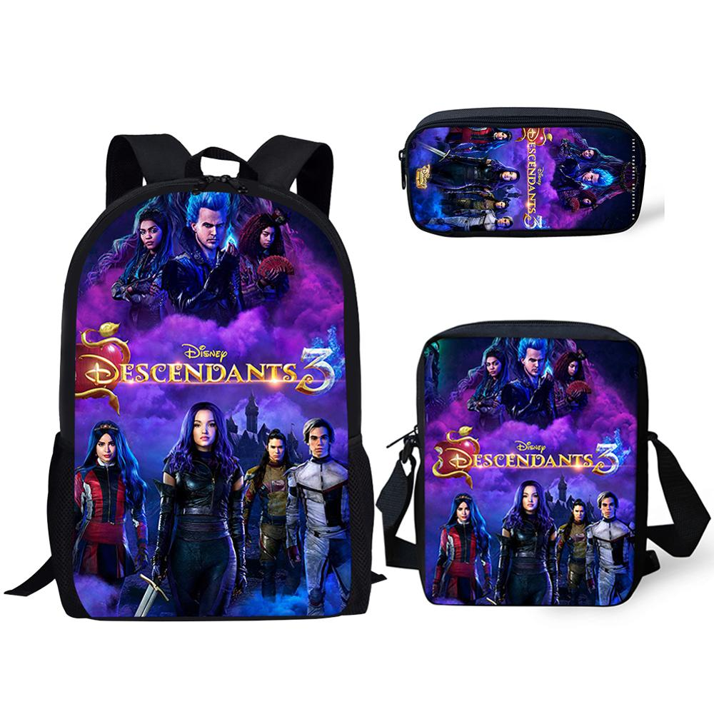 Thikin Descendants 3Pcs/set Book Bags Children School Bag For Girls School Backpack For Boys  Kids School Supplies Book Bags