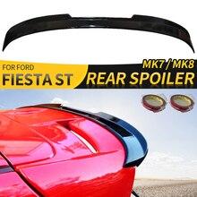 Spoiler Voor Ford Fiesta St MK7 MK7.5 Achtervleugel Abs Balck Carbon Fiber Rear Kleine Uitbreiding Cap Stickers Auto Styling accessoires