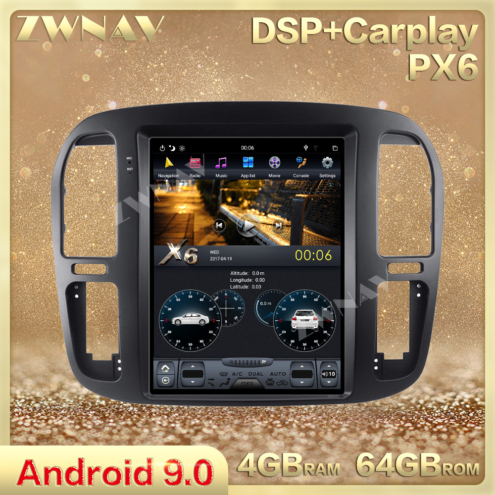 Tesla Style Screen Android 9.0 Car Radio Stereo Head Unit For Toyota Land Cruiser 100 Lc100 1992-2002 Gps Navi Multimedia Player