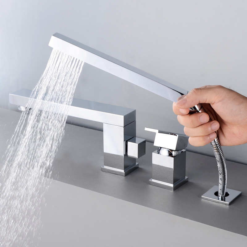 Square Sway Tub Edge Tap Rotatable Copper Hot And Cold Split Bathroom Hot And Cold Faucet YG1008