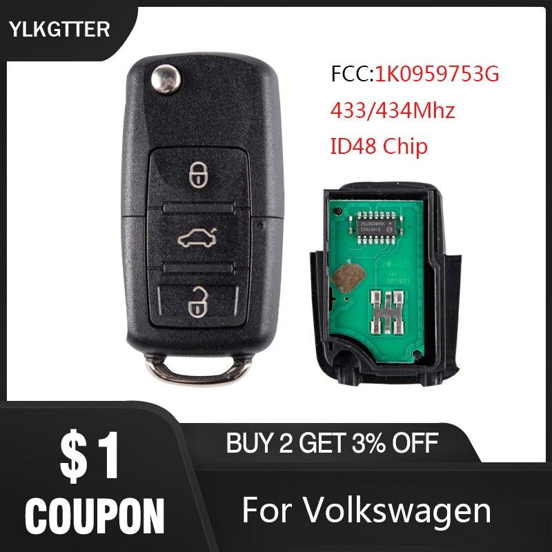 YLKGTTER remoto llave de coche para VW/Volkswagen Passat B5 B6 Skoda Tiguan Touran Golf 4 Polo con 1K0 959 753 G ID48 Chip 434Mhz