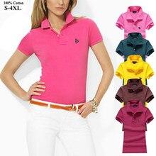 Polos 2020 coton à manches courtes pour femme, haut slim de bonne qualité, à la mode, 100%
