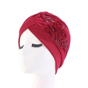 Image 5 - Sequins อินเดียมุสลิมผู้หญิง Ruffle ดอกไม้มะเร็ง Chemo Hat หมวกผ้าพันคอหัวหมวก Turban Headwear Bonnet Skullies Beanie ใหม่