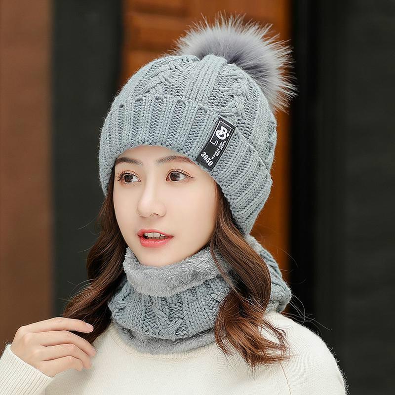 DeePom Winter Hat Female Korean Knitted Woolen Velvet Thick Warm Ladies Hat & Scarf Collars Sets For Women Windproof Beanie