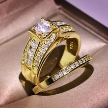 RongXing de lujo oro amarillo blanco Zircon anillo de boda conjunto para mujer moda Vintage princesa corte piedra CZ para novia anillos dobles
