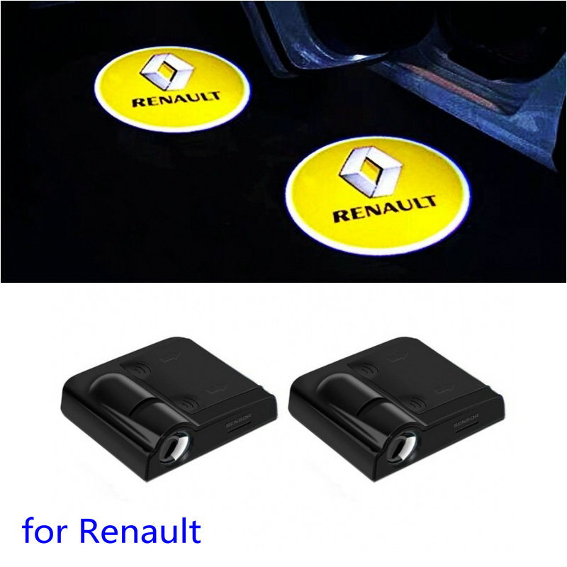 2X <font><b>LED</b></font> Car Door Welcome Light Projector <font><b>Logo</b></font> For <font><b>Renault</b></font> Kadjar Megane RS Scenic Clio Zoe Triber Koleos Captur Arkana Twingo GT image