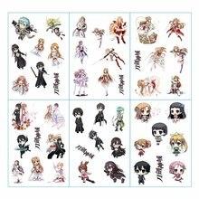 6pcs/lot Sword Art Online SAO Anime Stickers Pegatinas Book Sticker Pack Classic Toys Skateboard Doodle Sticker Toys