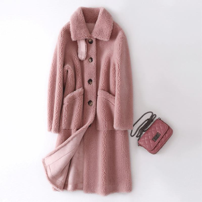2019 Winter Women Real Fur Coat Natural Sheep Shearing Fur Overcoat Female Oversize Thick Warm Wool Blends Jacket Invierno K384
