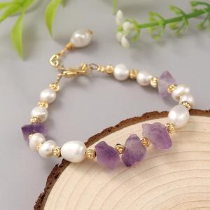 Coeufugy pulseira de pérolas para mulheres, ametista natural bracelete de festa branco pérola pedra pulseiras joias finas