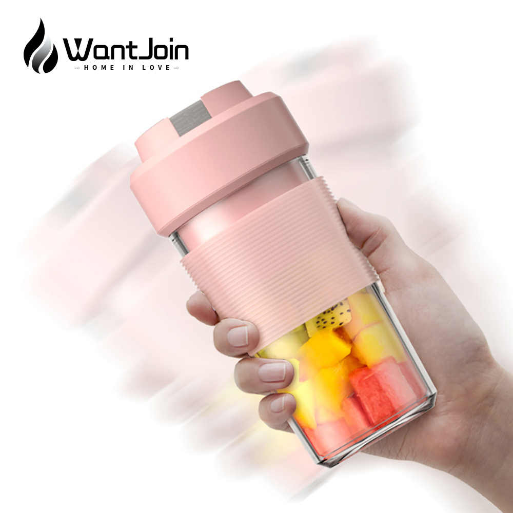 WantJoin 400 мл портативный мини-Блендер с 4 лезвиями, соковыжималка, миксер, электрическая соковыжималка для фруктов, USB перезаряжаемая, смузи, спорт, быстрый сок CE