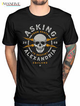 Official Asking Alexandria Danger T-Shirt Rock N Roll Reckless Album Purple Ey Casual Male Short Sleeve Pattern