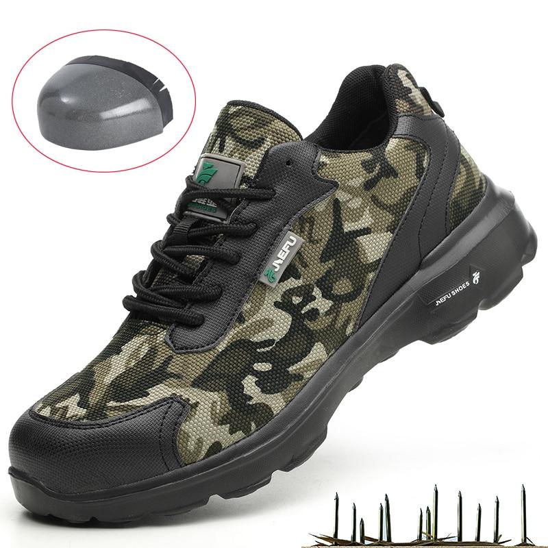 Новые мужские камуфляжные ботинки, защитная обувь, стальной носок, дизайнерская Повседневная Антистатическая неразрушаемая проколостойка...