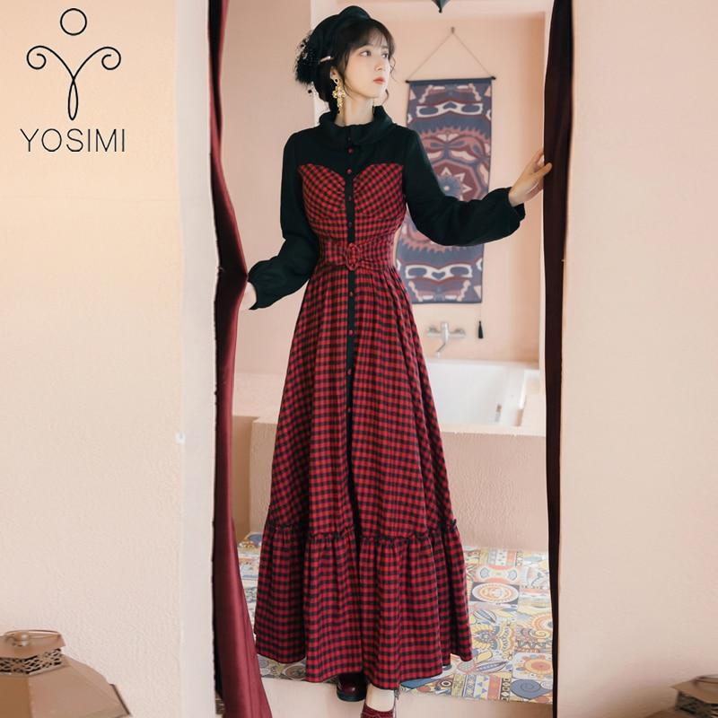 YOSIMI 2020 printemps Vintage rouge Plaid longue femmes robe faux ensemble Vestidos manches longues soirée robes élégantes cheville longueur