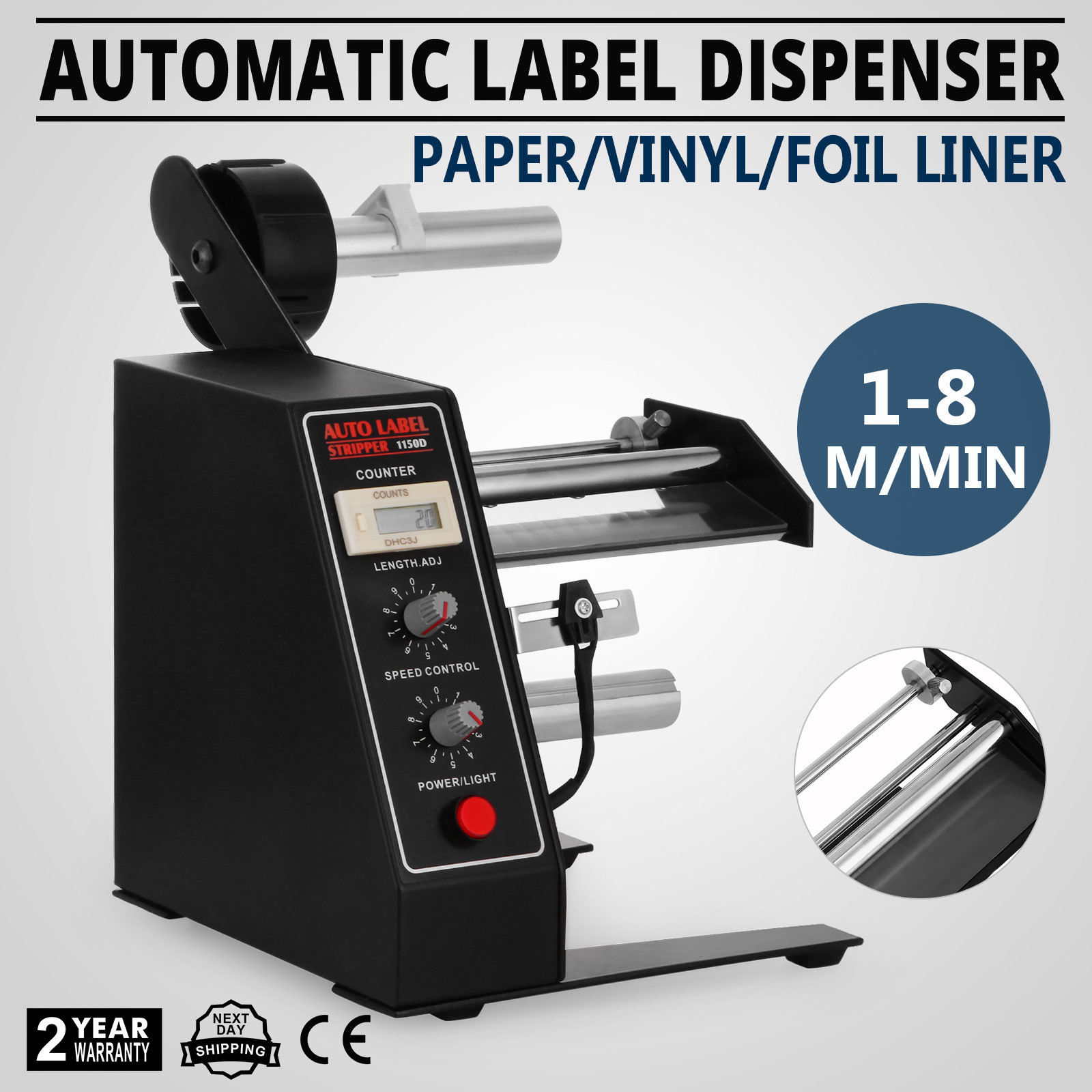 AL-1150D Automatic Label Dispenser 4-140mm Etikettiergerät Einstellbar Labeling Machine AUTO Etikettiermaschine Digitale Steueru