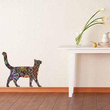 Criativo étnico original flor impressão gato adesivo de parede decalques casa sala estar arte decoração murais